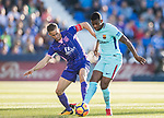 Nelson Cabral Semedo of FC Barcelona (R) fights for the ball with Alexander Szymanowski of CD Leganes during the La Liga 2017-18 match between CD Leganes vs FC Barcelona at Estadio Municipal Butarque on November 18 2017 in Leganes, Spain. Photo by Diego Gonzalez / Power Sport Images