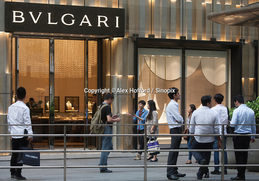 An exterior shot of the Bulgari store, Central district, Hong Kong, China, 28 April 2014.