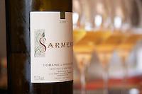 Sarment Vin de Pays du Mont Baudile 2004. Domaine l'Aigueliere. Montpeyroux. Languedoc. France. Europe. Bottle. Wine glass.