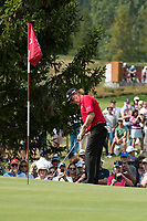 Miguel Angel Jimenez (ESP) in action on the 15th hole during third round at the Omega European Masters, Golf Club Crans-sur-Sierre, Crans-Montana, Valais, Switzerland. 31/08/19.<br /> Picture Stefano DiMaria / Golffile.ie<br /> <br /> All photo usage must carry mandatory copyright credit (© Golffile | Stefano DiMaria)