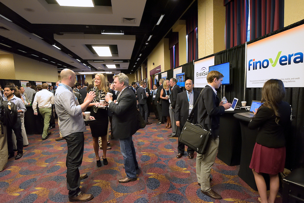 Attendees networking at The Finovate Conference.