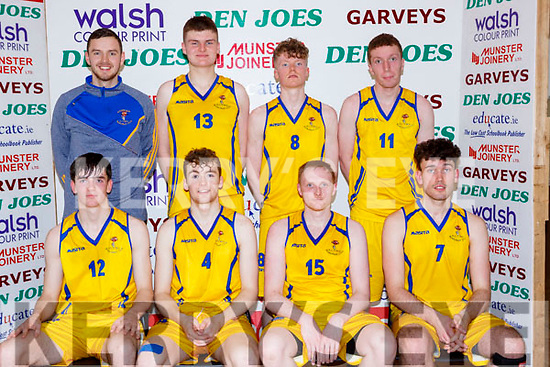 The Killorglin CYMS that played in the DIV 1 Mens final at the St Marys Basketball Blitz on Saturday Eoin O'sullivan, Conor Flynn, Ian Mcloughlin, Ewan Wheldon. Back row: Darragh Jones, Eoin Evans, David McCarthy and John Tyther