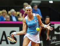 Arena Loire,  Trélazé,  France, 16 April, 2016, Semifinal FedCup, France-Netherlands, Second match: Kristina Mladenovic (FRA) <br /> Photo: Henk Koster/Tennisimages