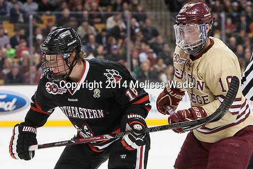 John Stevens (NU - 18), Michael Sit (BC - 18) - The Boston College Eagles defeated the Northeastern University Huskies 4-1 (EN) on Monday, February 10, 2014, in the 2014 Beanpot Championship game at TD Garden in Boston, Massachusetts.