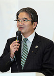 April 8, 2016, Tokyo, Japan - Tokyo2020 emblem selection committee head and Tokyo University of Arts president Ryohei Miyata announces the four candidate designs of Tokyo2020 Olympic and Paralympic Games emblems in Tokyo on Friday, April 8, 2016. The committee will decide the final design from the 14,599 entry designs on April 25.  (Photo by Yoshio Tsunoda/AFLO) LWX -ytd-