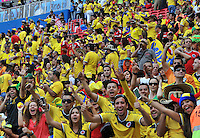 BRASILIA - BRASIL -19-06-2014. Hinchas colombianos viven una fiesta en el estadio Mane Garricha de Brasilia durante el partido del Grupo C entre Colombia (COL) y Costa de Marfil (CIV) hoy 19 de junio de 2014 en la Copa Mundial de la FIFA Brasil 2014./ Fans of Colombia live a party on the Mane Garricha stadium in Brasilia during the Group C match between Colombia (COL) and Ivory Coast (CIV) today June 19 2014 in the 2014 FIFA World Cup Brazil. Photo: VizzorImage / Alfredo Gutiérrez / Contribuidor