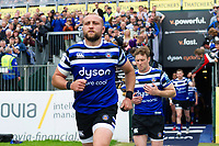 Tom Dunn and the rest of the Bath Rugby team run onto the field. Gallagher Premiership match, between Bath Rugby and Wasps on May 5, 2019 at the Recreation Ground in Bath, England. Photo by: Patrick Khachfe / Onside Images
