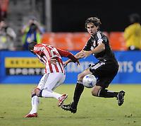 DC United defender Dejan Jakovic (5) controls the ball against Chivas USA forward Malcon Santos (29).  Chivas USA defeated DC United 2-0  at RFK Stadium, Saturday October 3, 2009.