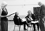 """King Lear"" rehearsed reading rehearsals. Old Vic Theatre. Director: Jonathan Miller. L to R: Felicity Dean, Tony Robinson, Honeysuckle Weeks, Jonathan Miller."