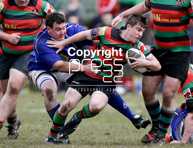 21.04.12<br /> Action from Fitzgerald Park Limerick, Thomond V Highfield. Highfield's Kevin Joyce in action against Thomond's Dave Foley. Picture: Alan Place/Press 22.