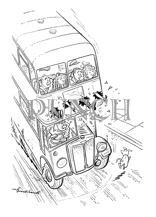 (A double decker bus brakes to avoid hitting a dog and the four people in the top deck - all drivers - kick their legs out to stamp on an imaginary brake)