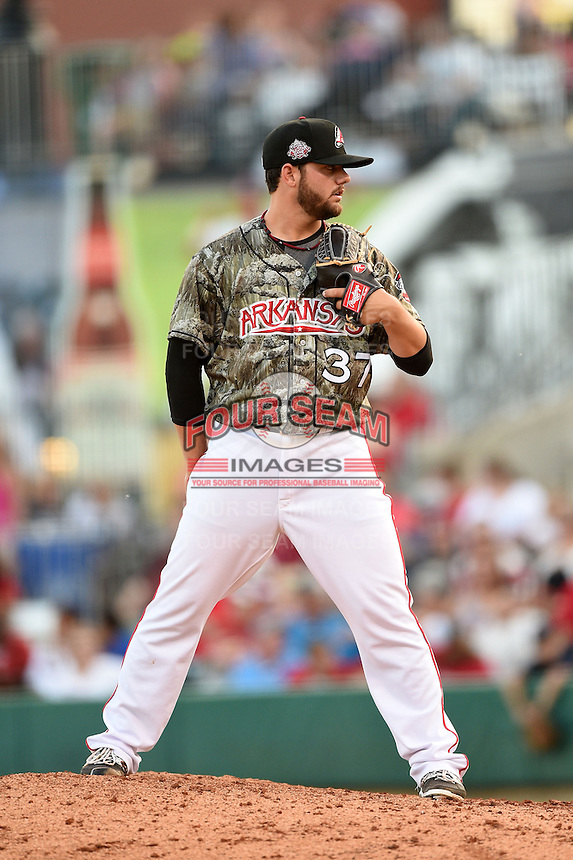 Arkansas Travelers pitcher Cam Bedrosian (37) looks in for the sign during a game against the San Antonio Missions on May 25, 2014 at Dickey-Stephens Park in Little Rock, Arkansas.  Arkansas defeated San Antonio 3-1.  (Mike Janes/Four Seam Images)