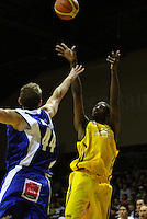 Taranaki import Demarshay Johnson shoots during the National basketball league match between the Wellington Saints  and Taranaki Mountainairs at TSB Bank Arena, Wellington, New Zealand onFriday, 9 April 2010. Photo: Dave Lintott / lintottphoto.co.nz