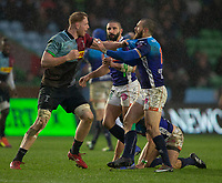 Harlequins' George Merrick gets to grips with Benetton's Jayden Hayward<br /> <br /> Photographer Bob Bradford/CameraSport<br /> <br /> European Rugby Challenge Cup Pool 5 - Harlequins v Benetton Treviso - Saturday 15th December 2018 - Twickenham Stoop - London<br /> <br /> World Copyright &copy; 2018 CameraSport. All rights reserved. 43 Linden Ave. Countesthorpe. Leicester. England. LE8 5PG - Tel: +44 (0) 116 277 4147 - admin@camerasport.com - www.camerasport.com