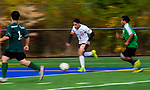 WATERBURY,  CT-101619JS13-  Sacred Heart's (2) pushes the ball up field during their NVL game against Wilby Thursday at Municipal Stadium in Waterbury. <br />  Jim Shannon Republican-American