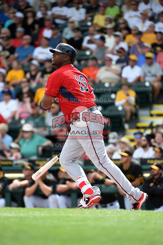 Minnesota Twins first baseman Kennys Vargas (19) hits a home run during a Spring Training game against the Pittsburgh Pirates on March 13, 2015 at McKechnie Field in Bradenton, Florida.  Minnesota defeated Pittsburgh 8-3.  (Mike Janes/Four Seam Images)