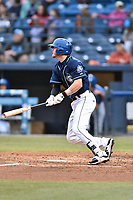 Asheville Tourists third baseman Taylor Snyder (28) swings at a pitch during a game against the Kannapolis Intimidators at McCormick Field on April 18, 2017 in Asheville, North Carolina. The Intimidators defeated the Tourists 6-1. (Tony Farlow/Four Seam Images)
