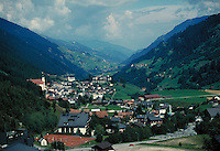 Aerial view of village nestled in valley. Bellizonia Italian Alps Switzerland Europe.
