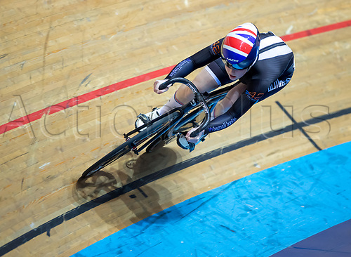 25th January 2020; National Cycling Centre, Manchester, Lancashire, England; HSBC British Cycling Track Championships; Emma Finucane wins heat four of the female keirin