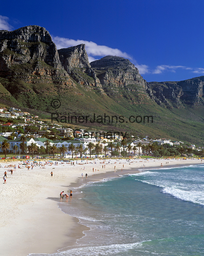 """South Africa, Cape Town, Camps Bay and """"12 Apostle"""" Mountains"""