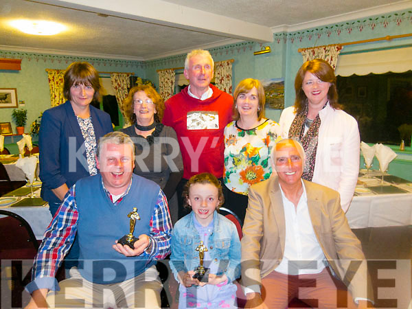 Play Acting<br /> ---------------<br /> A one night performance by the Cloghane Drama Group Aisteoiri an Leithtriuigh ages Glor na nGael last Friday night at the Halla Le Cheile turned out two Oscar winners for the play Torraimh Dhaidho (Granda's Wake) seated L-R Mehall O Dowd (best Actor) Eavha Ni Laighin (best Actress) and Frank Houlihan,( back) L-R Carmella Ui Mhuirchertaigh,Maire Aine Uimhurchu,Mehall O Laighin,Siobhan Ui Chonchubhair ages Geraldine Galvin