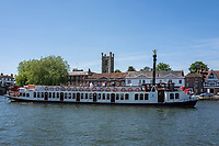 Henley on Thames. United Kingdom. View of the paddle boat  &quot;New Orleans&quot;. moves, away from Henley Road Bridge St Mary's Church Tower in the background. , Thursday  17/05/2018<br /> <br /> [Mandatory Credit: Peter SPURRIER:Intersport Images]<br /> <br /> LEICA CAMERA AG  LEICA Q (Typ 116)  f5  1/1000sec  35mm  42.5MB