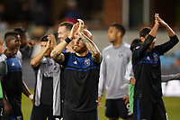 SAN JOSE, CA - JULY 16: Magnus Eriksson #7 of the San Jose Earthquakes salutes the fans after a friendly match between the San Jose Earthquakes and Real Valladolid on July 16, 2019 at Avaya Stadium in San Jose, California.