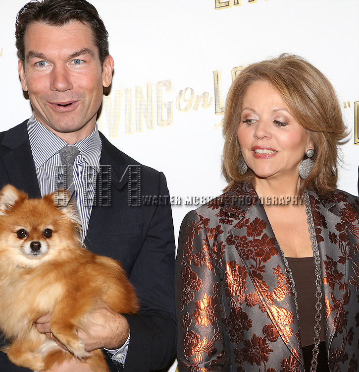 Jerry O'Connell, Trixie and Renee Flemming attends the 'Living on Love' photo call at the Empire Hotel on March 12, 2015 in New York City.