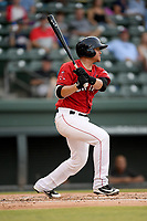 Catcher Samuel Miranda (21) of the Greenville Drive bats in a game against the Asheville Tourists on Friday, August 23, 2019, at Fluor Field at the West End in Greenville, South Carolina. Greenville won, 11-1. (Tom Priddy/Four Seam Images)