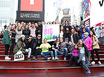 Laura Heywood, aka @BroadwayGirlNYC , with fellow huggers attend Big Hug Day: Broadway comes together to spread kindness and raise funds for Children's Hospitals on January 21, 2018 at Duffy Square, Times Square in New York City.