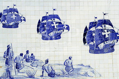 Porto Seguro, Brazil. Tiles depicting the arrival of the first Portuguese ships in Brazil; Bahia State.