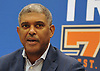 Steve Mills, General Manager of the New York Knicks, speaks during a news conference at MSG Training Center in Greenburgh on Friday, Sept. 23, 2016.