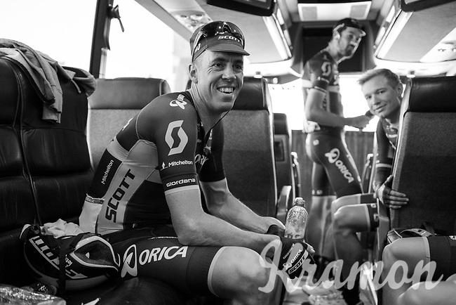 Defending Champion Mathew Haymen (AUS/Orica-Scott) relaxed on the teambus pre-race<br /> <br /> 115th Paris-Roubaix 2017 (1.UWT)<br /> One Day Race: Compi&egrave;gne &rsaquo; Roubaix (257km)