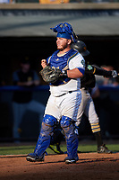 Bluefield Blue Jays catcher Alejandro Kirk (5) during the first game of a doubleheader against the Bristol Pirates on July 25, 2018 at Bowen Field in Bluefield, Virginia.  Bluefield defeated Bristol 6-3.  (Mike Janes/Four Seam Images)