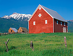 Wallowa County, OR   <br /> Red barn and two weathered sheds beneath the snowy peaks of the Wallowa mountains near Joseph