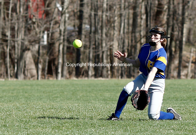 Woodbury, CT- 21 April 2014-042114CM07-  Housatonic's Stephanie Serna braces for the ball during their Berkshire League matchup against Nonnwaug in Woodbury on Monday.   Christopher Massa Republican-American