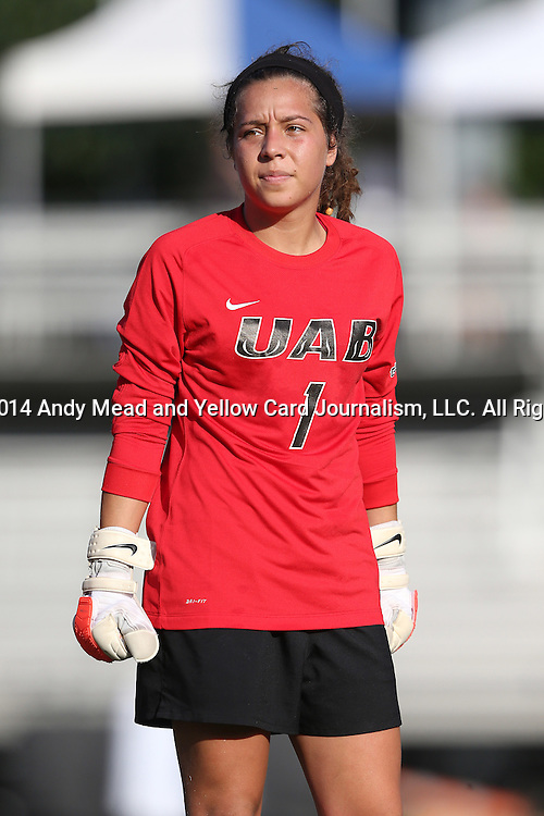 31 August 2014: UAB's Angelica Jimenez. The Duke University Blue Devils hosted the University of Alabama Birmingham Blazers at Koskinen Stadium in Durham, North Carolina in a 2014 NCAA Division I Women's Soccer match. Duke won the game 3-1.