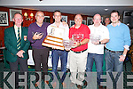 It was an all Waterville team that proved the strongest in the Charlie Chaplin Am-Am at Waterville over the Weekend, pictured here collecting first prize from Pat Everett(Captain WGC) were l-r; Sean O'Sullivan, John Cronin, Abe Huggard, Robbie Cotter & David O'Sullivan(Sponsor ICWM - Smart Waste Solutions).