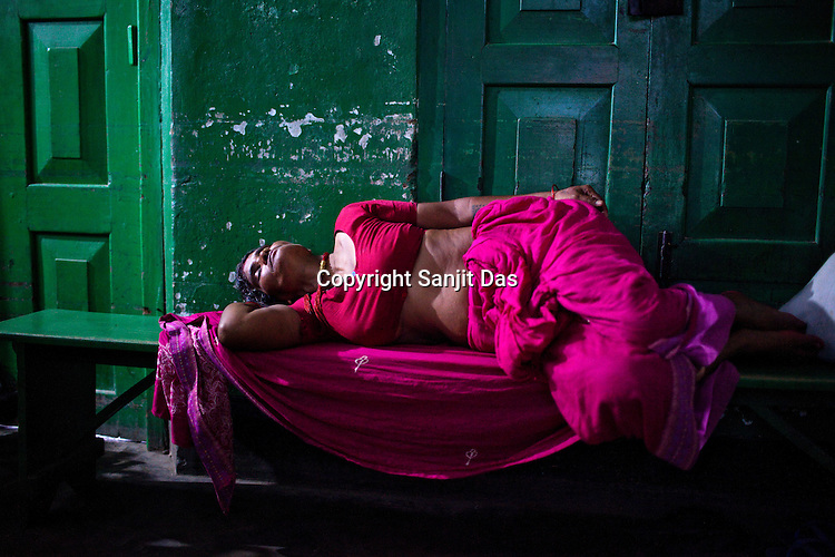 A woman is seen sleeping outside the maternity ward of Duncan Hospital in Raxaul of East Champaran district of Bihar, India. Photograph: Sanjit Das/Panos for Legatum Foundation