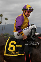 ARCADIA, CA  JUNE 16: Kent Desormeaux is all smiles after he and Ollie's Candy win the Summertime Oaks (Grade ll) on June 16, 2018 at Santa Anita Park in Arcadia, CA. (Photo by Casey Phillips/Eclipse Sportswire/Getty Images)