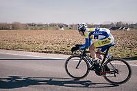 Aime De Gendt (BEL/Sport Vlaanderen-Baloise) in bib shorts in freezing temperatures<br /> <br /> Omloop Het Nieuwsblad 2018<br /> Gent &rsaquo; Meerbeke: 196km (BELGIUM)
