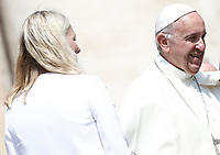 Canada's Environment Minister Catherine McKenna leaves after being greeted by Pope Francis during the Wednesday general audience in Saint Peter's square at the Vatican, on June 14, 2017.<br /> UPDATE IMAGES PRESS/Isabella Bonotto<br /> STRICTLY ONLY FOR EDITORIAL USE