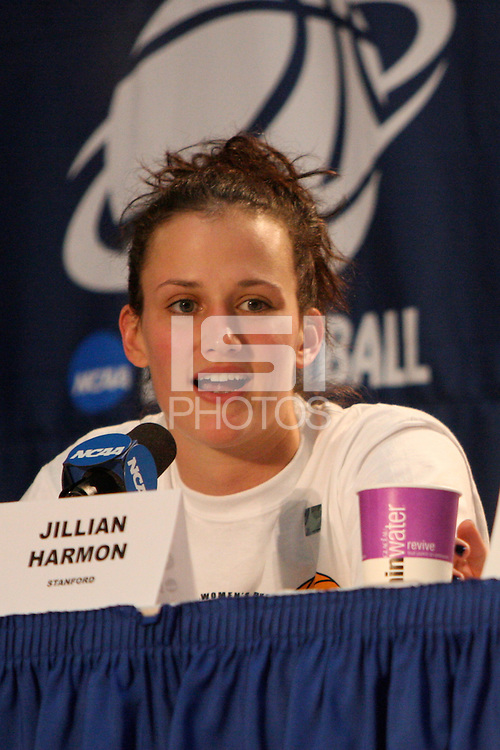 BERKELEY, CA - MARCH 30: Jillian Harmon in the post-game press conference following Stanford's 74-53 win against the Iowa State Cyclones on March 30, 2009 at Haas Pavilion in Berkeley, California.