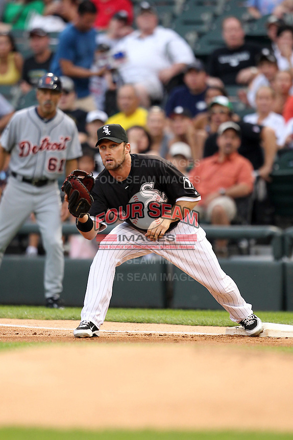 Chicago White Sox first baseman Mark Kotsay (7) during a game vs. the Detroit Tigers at U.S. Cellular Field in Chicago, Illinois August 13, 2010.   Chicago defeated Detroit 8-4.  Photo By Mike Janes/Four Seam Images