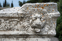 CORINTH, GREECE - APRIL 16 : A detail of Roman sculpture, on April 16, 2007 in Corinth, Greece. This sculpted lion's head is seen in the early morning light. Corinth, founded in Neolithic times, was a major Ancient Greek city, until it was razed by the Romans in 146 BC. Rebuilt a century later it was destroyed by an earthquake in Byzantine times. (Photo by Manuel Cohen)