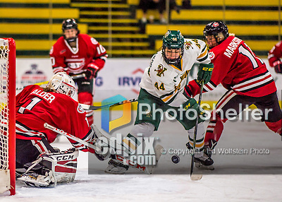 25 November 2016: University of Vermont Catamount Forward Victoria Andreakos, a Senior from Aurora, Ontario, tries to get the puck past Saint Cloud State Huskie Goaltender Janine Alder, a Freshman from Zurich, Switzerland, at Gutterson Fieldhouse in Burlington, Vermont. The Lady Cats defeated the Huskies 5-1 to take the first game of the 2016 Windjammer Classic Tournament. Mandatory Credit: Ed Wolfstein Photo *** RAW (NEF) Image File Available ***