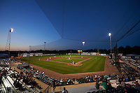 General view of a Burlington Bees game against the Clinton LumberKings on August 20, 2015 at Community Field in Burlington, Iowa.  The left field lights went out and were unable to be turned on for the remainder of the game.  Burlington defeated Clinton 3-2.  (Mike Janes/Four Seam Images)