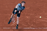 June 3, 2015: Andy Murray of the United Kingdom in action in a Quarterfinal match against David Ferrer of Spain on day eleven of the 2015 French Open tennis tournament at Roland Garros in Paris, France. Murray won 76 62 57 61. Sydney Low/AsteriskImages