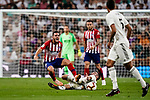 Daniel Carvajal of Real Madrid (R) trips up with Jorge Koke of Atletico de Madrid (L) during their La Liga  2018-19 match between Real Madrid CF and Atletico de Madrid at Santiago Bernabeu on September 29 2018 in Madrid, Spain. Photo by Diego Souto / Power Sport Images