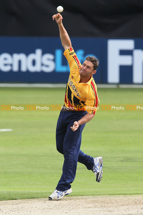 Greg Smith in bowling action for Essex - Essex Eagles vs Australia - Tourist Match Cricket at the Ford County Ground, Chelmsford, Essex - 26/06/12 - MANDATORY CREDIT: Gavin Ellis/TGSPHOTO - Self billing applies where appropriate - 0845 094 6026 - contact@tgsphoto.co.uk - NO UNPAID USE.